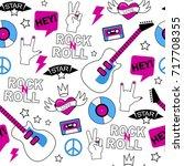 vector seamless rock music... | Shutterstock .eps vector #717708355