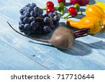 autumn vegetables with shadow... | Shutterstock . vector #717710644