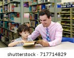 childern studying in a library.   Shutterstock . vector #717714829