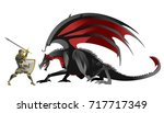 knight hero fighting a black... | Shutterstock .eps vector #717717349