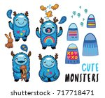 cute patches with cartoon... | Shutterstock .eps vector #717718471