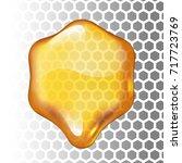 realistic vector honey drop.... | Shutterstock .eps vector #717723769