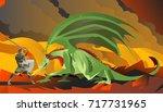 knight hero fighting a green... | Shutterstock .eps vector #717731965