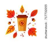 coffee mug among the autumn...   Shutterstock .eps vector #717732055