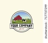 vintage farm logo vector | Shutterstock .eps vector #717737299