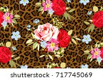 seamless pattern with bouquets... | Shutterstock .eps vector #717745069