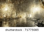 bench in night alley with... | Shutterstock . vector #71775085