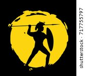 legionnaire warrior silhouette... | Shutterstock . vector #717755797