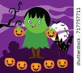 halloween cartoon series set.  | Shutterstock .eps vector #717757711