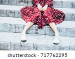 girl suffering from  fear ... | Shutterstock . vector #717762295