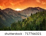 golden sunset in the wasatch... | Shutterstock . vector #717766321
