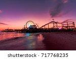santa monica pier at sunset | Shutterstock . vector #717768235