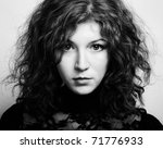 Portrait of the young beautiful woman with curly hair. Vintage portrait - stock photo