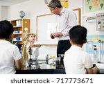group of diverse kindergarten... | Shutterstock . vector #717773671