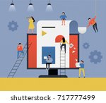 people in the web business... | Shutterstock .eps vector #717777499