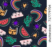 seamless print with cute... | Shutterstock .eps vector #717779704