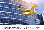 generic drone carrying a parcel.... | Shutterstock . vector #717780145