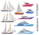 yacht sailboat or sailing ship... | Shutterstock .eps vector #717781837