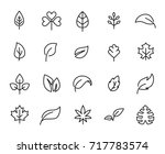 premium set of leaf line icons. ... | Shutterstock .eps vector #717783574