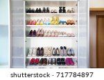 collection of women's shoes on... | Shutterstock . vector #717784897