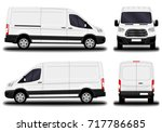 realistic cargo van. front view ... | Shutterstock .eps vector #717786685