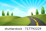 cartoon landscape illustration. ... | Shutterstock .eps vector #717792229