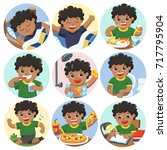 the daily routine of african... | Shutterstock .eps vector #717795904
