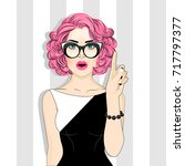 fashion retro woman with pink... | Shutterstock .eps vector #717797377
