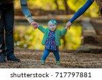 little baby learns to walk ... | Shutterstock . vector #717797881
