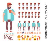 fat bearded guy with cocktail... | Shutterstock .eps vector #717799537