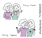 set of girls talk concept.... | Shutterstock .eps vector #717800425