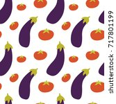 vegetable pattern with tomatoes ... | Shutterstock .eps vector #717801199