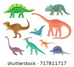 set of colorful dinosaurs. | Shutterstock .eps vector #717811717