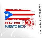 pray for puerto rico  the... | Shutterstock .eps vector #717813625