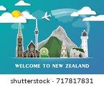 new zealand landmark global... | Shutterstock .eps vector #717817831