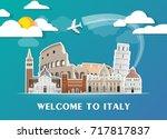 italy landmark global travel... | Shutterstock .eps vector #717817837
