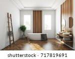 white and wooden bathroom... | Shutterstock . vector #717819691
