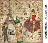 vintage poster paris torn...   Shutterstock .eps vector #717821635