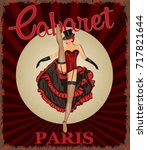 retro poster with cancan dancer. | Shutterstock .eps vector #717821644