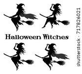 set witch flying on broom ... | Shutterstock .eps vector #717826021
