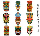 tribal tiki mask vector set of... | Shutterstock .eps vector #717828181
