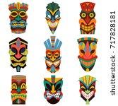 tribal tiki mask vector set of... | Shutterstock .eps vector #717828181