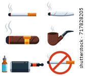 cigar  cigarette  jamb with... | Shutterstock .eps vector #717828205