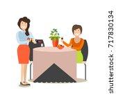 restaurant guest illustration.... | Shutterstock . vector #717830134