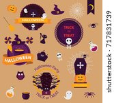 set of halloween logo and label ... | Shutterstock .eps vector #717831739