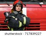 Portrait Of Fireman Wearing...