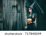 Halloween Witch With Pumpkin....
