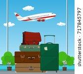 traveler's baggage against the... | Shutterstock .eps vector #717845797