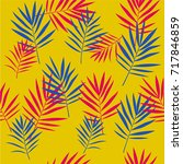tropical palm leaves seamless... | Shutterstock .eps vector #717846859