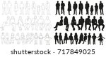 collection of silhouettes... | Shutterstock . vector #717849025